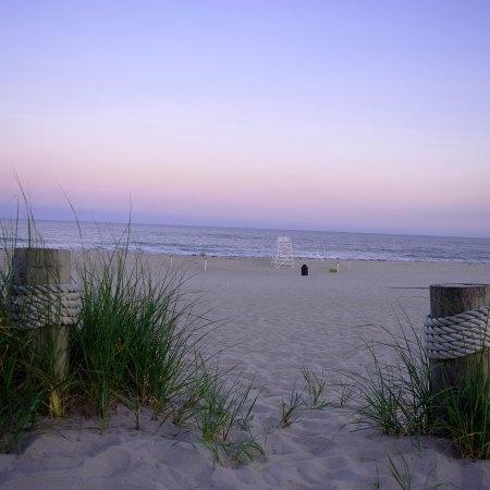 Lifeguard Stand on Southampton beach sunset by kate stoltz